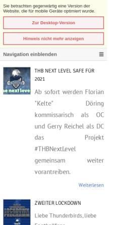 Vorschau der mobilen Webseite www.berlinthunderbirds.de, Berlin Thunderbirds