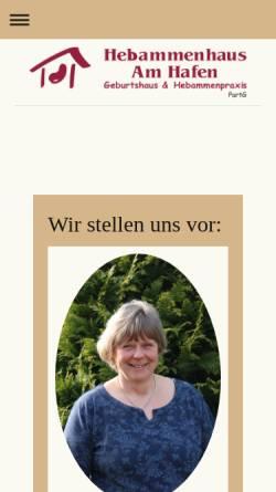 Vorschau der mobilen Webseite www.hebammenhausamhafen.de, Hebammenhaus am Hafen, Hebamme Anett Thiele & Partnerinnen