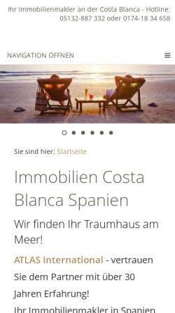 Vorschau der mobilen Webseite www.auslandsimmobilienspezialist.de, ATLAS INTERNATIONAL AGENTUR DEUTSCHLAND
