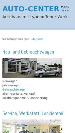 Vorschau der mobilen Webseite www.auto-center-guenther.de, Auto Center Günther, Inhaberin Teja Günther