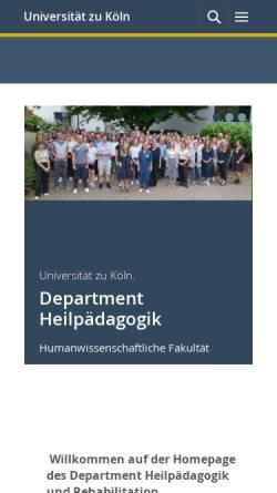 Vorschau der mobilen Webseite www.hf.uni-koeln.de, Heilpädagogik, Uni Köln