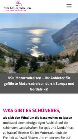 Vorschau der mobilen Webseite www.nsk-motorradreisen.de, NSK Motorradreisen