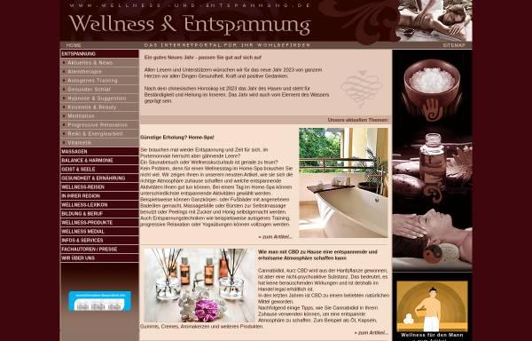 Vorschau von www.wellness-und-entspannung.de, Magazin für Wellness und Entspannung
