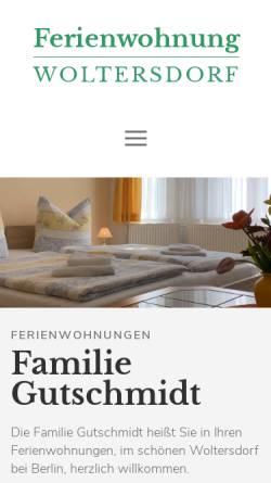 Vorschau der mobilen Webseite www.ferienwohnung-woltersdorf.de, Ferienwohnungen Familie Gutschmidt