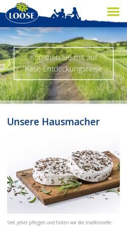 Vorschau der mobilen Webseite www.loose.de, Käserei Loose GmbH & Co. KG