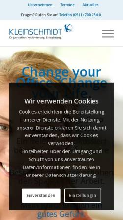 Vorschau der mobilen Webseite www.kleinschmidt-info.de, Kleinschmidt Büroorganisation