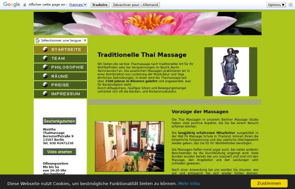 Vorschau von www.wantha-thaimassage-berlin.de, Wantha Thai Massage