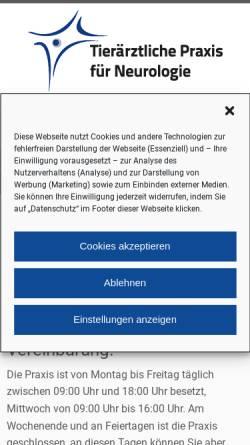 Vorschau der mobilen Webseite www.tierneurologie.de, Dr. Kai Rentmeister - Tierärztliche Praxis für Neurologie