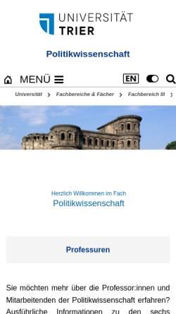Vorschau der mobilen Webseite www.politik.uni-trier.de, Universität Trier: Arbeitsgemeinschaft Menschenrechte