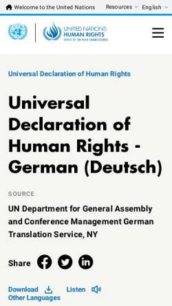 Vorschau der mobilen Webseite www.ohchr.org, Allgemeine Erklärung der Menschenrechte