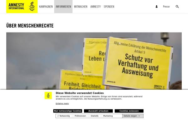 Vorschau von www.amnesty.de, Die allgemeine Erklärung der Menschenrechte