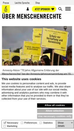Vorschau der mobilen Webseite www.amnesty.de, Die allgemeine Erklärung der Menschenrechte