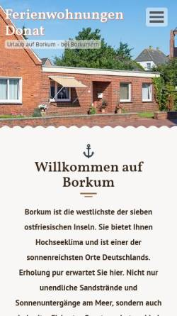 Vorschau der mobilen Webseite www.donat-borkum.de, Ferienwohnungen Donat
