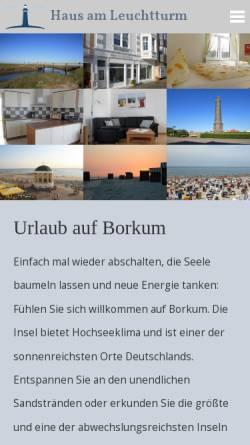 Vorschau der mobilen Webseite www.hausamleuchtturm-borkum.de, Haus am Leuchtturm