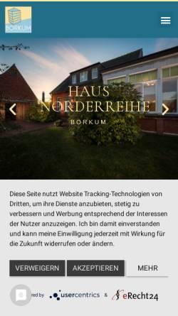 Vorschau der mobilen Webseite www.borkum-leben.de, Villa Germania