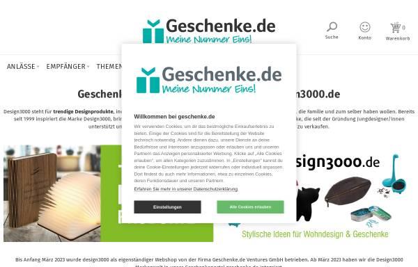 Vorschau von www.design-3000.de, design3000 - Shop of ideas