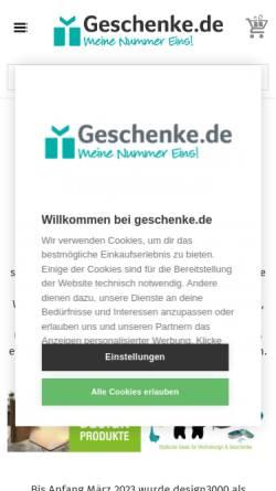 Vorschau der mobilen Webseite www.design-3000.de, design3000 - Shop of ideas