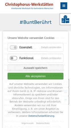Vorschau der mobilen Webseite www.christophorus-werkstaetten.de, Christophorus-Werkstätten der Samariteranstalten Fürstenwalde