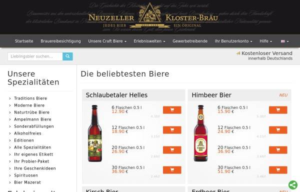 Vorschau von www.klosterbrauerei.com, Klosterbrauerei Neuzelle GmbH