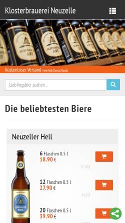 Vorschau der mobilen Webseite www.klosterbrauerei.com, Klosterbrauerei Neuzelle GmbH