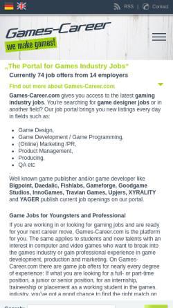 Vorschau der mobilen Webseite www.games-career.com, Games-Career