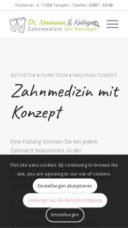Vorschau der mobilen Webseite www.zahnarzt-templin.de, Zahnarztpraxis Erlo Neumann und Dr. Tobias Neumann