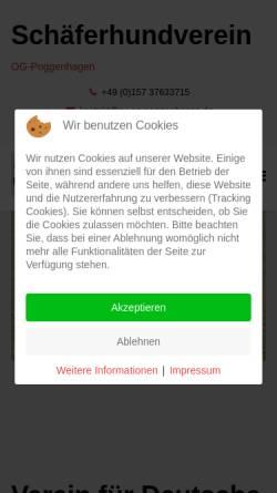 Vorschau der mobilen Webseite www.sv-og-poggenhagen.de, Verein für deutsche Schäferhunde e.V. SV OG Poggenhagen