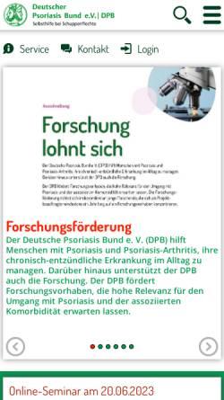 Vorschau der mobilen Webseite www.psoriasis-bund.de, Deutscher Psoriasis Bund e.V.
