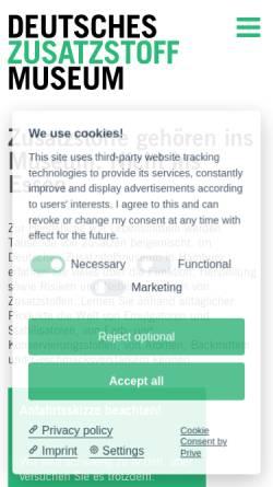 Vorschau der mobilen Webseite www.zusatzstoffmuseum.de, Deutsches Zusatzstoffmuseum - Hamburger Lebensmittelstiftung