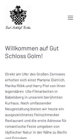 Vorschau der mobilen Webseite www.gutschlossgolm.de, Gut Schloß Golm