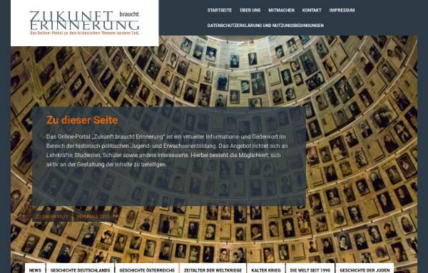 Vorschau von www.zukunft-braucht-erinnerung.de, Zukunft braucht Erinnerung