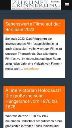 Vorschau der mobilen Webseite www.zukunft-braucht-erinnerung.de, Zukunft braucht Erinnerung