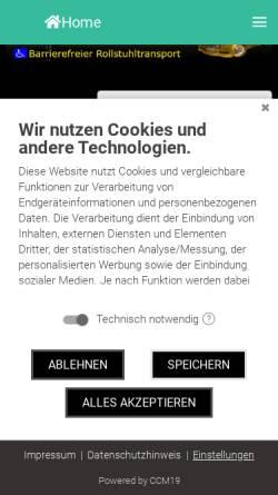 Vorschau der mobilen Webseite taxi-frank.info, Artur Frank - Taxi und Mietwagen