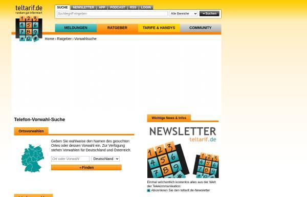 Vorschau von www.teltarif.de, Vorwahlsuche, teltarif.de Onlineverlag GmbH