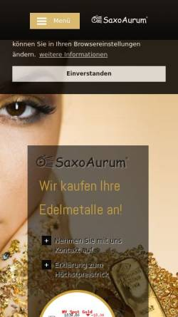 Vorschau der mobilen Webseite www.saxoaurum.de, Saxoaurum e.K.