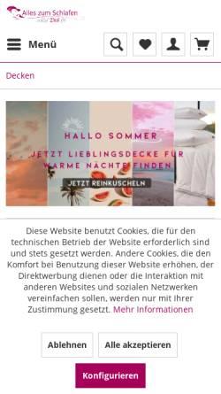 Vorschau der mobilen Webseite www.bettwaren-heimtextilien-shop24.de, Uwe Noack