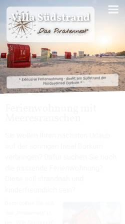 Vorschau der mobilen Webseite www.xn--villa-sdstrand-borkum-fic.de, Villa Südstrand Borkum