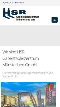 Vorschau der mobilen Webseite www.gabelstapler-muenster.de, HSR Gabelstaplerzentrum Münsterland GmbH