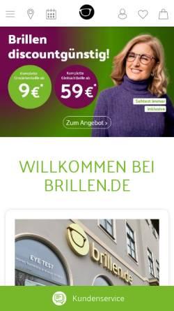 Vorschau der mobilen Webseite www.brillen.de, brillen.de KTS GmbH