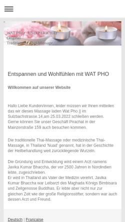Vorschau der mobilen Webseite www.wat-pho-saarbruecken.de, Wat Pho Thai Massage