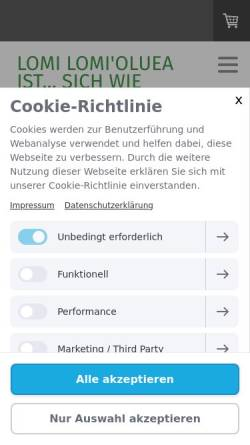 Vorschau der mobilen Webseite www.lomilomi-massagen.de, Lomi Lomi Oluea