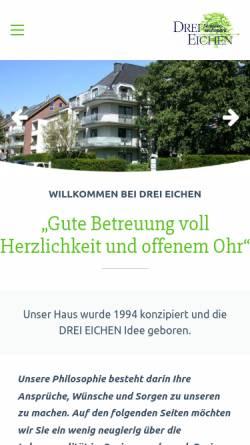 Vorschau der mobilen Webseite www.drei-eichen.com, DREI EICHEN Seniorenwohnpark in Aachen-Brand, Mobiler Pflegedienst