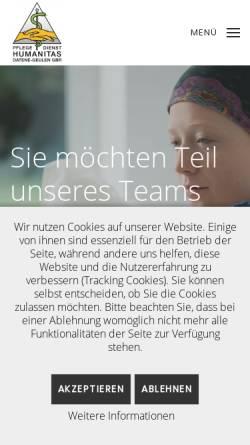 Vorschau der mobilen Webseite www.humanitas-aachen.de, Pflegedienst Humanitas Aachen