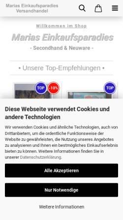 Vorschau der mobilen Webseite www.marias-einkaufsparadies.de, Maria Rodriguez-Schmitz & Dirk Skowronek GbR (Marias-Einkaufsparadies.de)