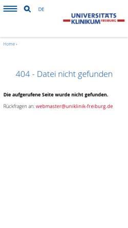 Vorschau der mobilen Webseite www.uniklinik-freiburg.de, Abteilung Qualitätsmanagement und Sozialmedizin, Universitätsklinikum Freiburg