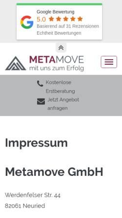 Vorschau der mobilen Webseite www.metamove.de, Metamove GmbH