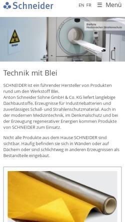 Vorschau der mobilen Webseite www.schneider-ass.de, Anton Schneider Söhne GmbH & Co. KG