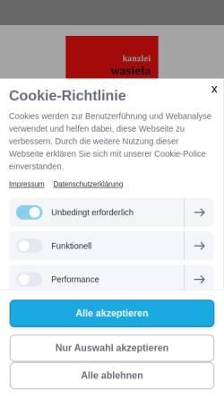 Vorschau der mobilen Webseite www.kanzlei-wasiela.de, Rechtsanwaltskanzlei Wasiela