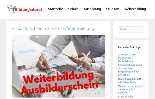 Vorschau von www.bildungsdurst.de, BildungsDurst - Fernstudium suchen, vergleichen und bewerten