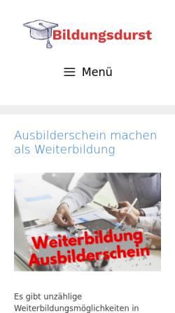 Vorschau der mobilen Webseite www.bildungsdurst.de, BildungsDurst - Fernstudium suchen, vergleichen und bewerten